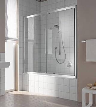 Kermi - Atea corredera mampara de baño como blanco; cristal genuino limpia y clara; 160; 160: Amazon.es: Bricolaje y herramientas