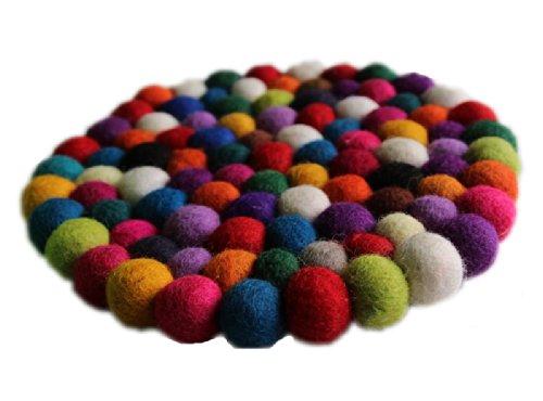 Filz Untersetzer Topf Untersetzer kunterbunt 22 cm handgefertigt aus reiner Wolle, hitzebeständig
