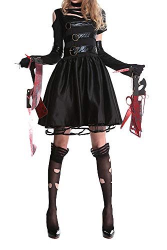 Women's Halloween Costume Sexy Miss Scissorhands Adult Party Fancy Cosplay Costume Dress -