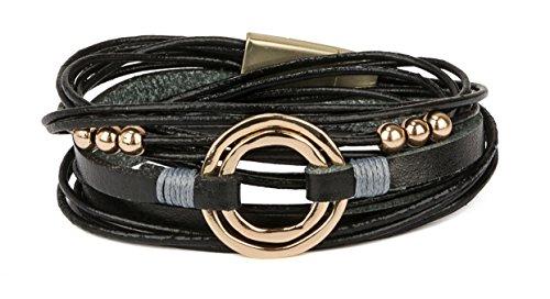 Friendship Circle Bracelet Of (SPUNKYsoul New! Circle Wrap Bracelet with Magnetic Closure for Women Collection (Black))