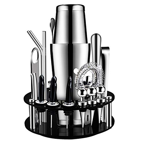 X-cosrack Boston Bartender Kit with Revolving Stand: 19 Pcs Stainless Steel Cocktail Shaker Set, Professional Home Bar…