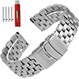 Quick Release Solid Stainless Steel Watch Band Bracelet Strap 18mm/20mm/22mm/24mm Double Locking Clasp for Mens Women (18mm, Silver)