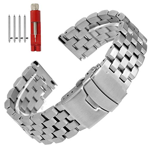 Quick Release Solid Stainless Steel Watch Band Bracelet Strap 18mm/20mm/22mm/24mm Double Locking Clasp for Mens Women (20mm, - Double Watch Bracelet Strap