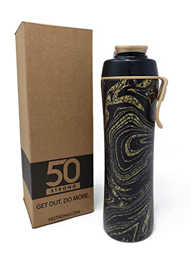 50 Strong BPA Free Gym Water Bottle with Ice Guard Flip Top Cap & Carry Loop - Cute Designer Prints - Perfect for Men, Women, Sports & Workout - 24 oz. - Made in USA (Glitter Swirl, 24 oz.) (Glitter Print Top)