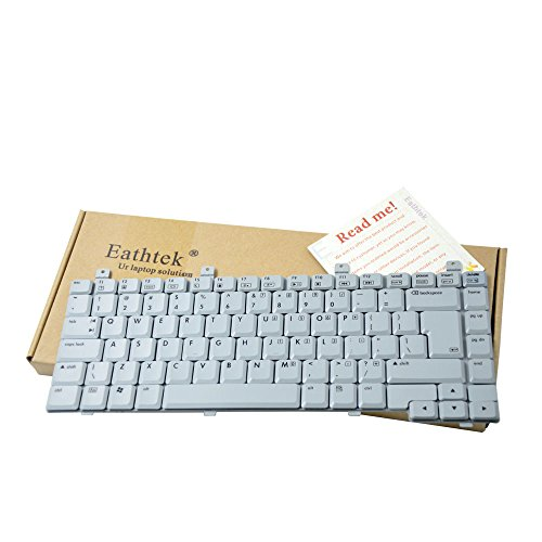 Eathtek Replacement Keyboard with BIG ENTER for HP Compaq C300 C500 V2000 M2000 R3000 series Grey White US (M2000 Series Laptop)
