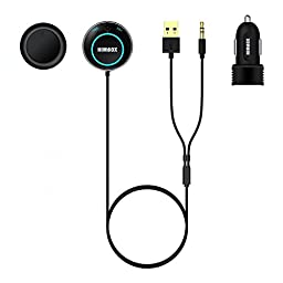iClever Himbox HB01 Bluetooth 4.0 Hands-Free Car Kit with 3.5mm Aux Jack, Multi-Point Access, Siri / Voice Activation, Dual USB Charger & Magnetic Base, Updated Aluminum Ring - Black
