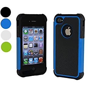 LCJ Three in One Rugged Rubber Matte Hard Case for iPhone 5/5S (Assorted Colors) , Blu