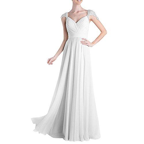 Brautmutterkleider Brau Promkleider Kurzarm Neu La Abendkleider mia Ballkleider Weiß Formalkleider Festlichkleider Langes pB5w1Izq