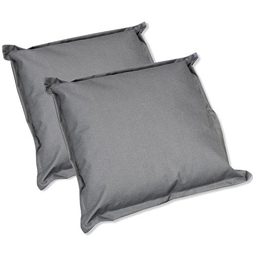 2x Outdoor Kissen Dekokissen Stuhlkissen Sitzkissen Sofakissen für Gartenmöbel Loungemöbel - wasserabweisend, für Innen und Aussen, 52x52cm, grau