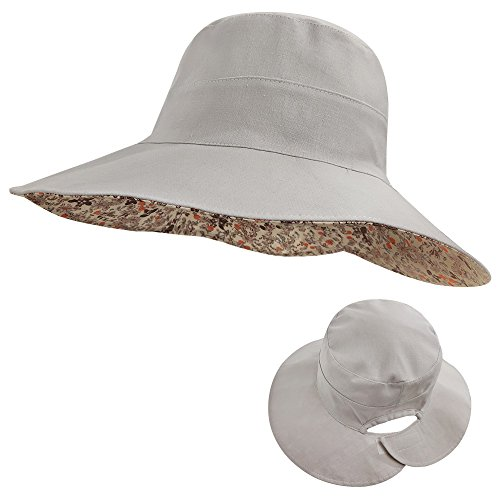 LETHMIK Womens Reversible Bucket Hat,Wide Brim Beach Sun Hat Packable with Ponytail Hole Grey