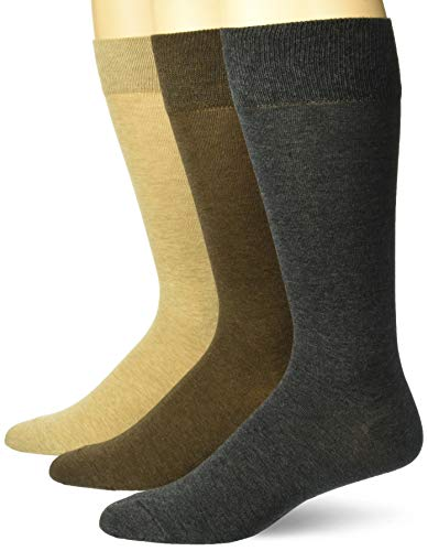 (Buttoned Down Men's 3-Pack Pima Cotton Dress Socks, Camel/Brown/Charcoal, Shoe Size: 12-16)