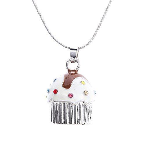 Qiji Cute Cupcake Pendant Necklace Colorful Alloy Rhinestone Slide Gift Costume Jewelry (Silver Tone) -