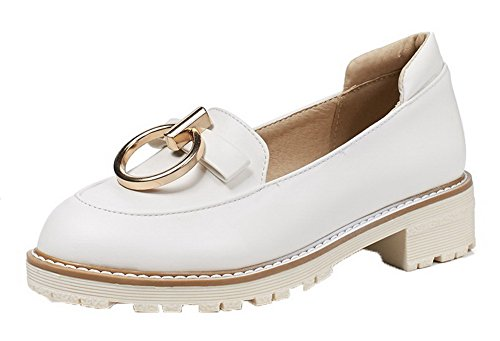 Amoonyfashion Womens Pull-on Lage Hakken Pu Stevige Ronde-teen Pumps-schoenen Wit