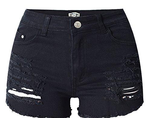 Trous Coton Taille Trou Noir Shorts Haute Jeans Denim Pantalon Pantalon Denim Hot D't lastique Femmes Beautisun Haute Pocket Shorts Shorts Denim 0qx4wOIRS7