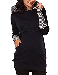 Moxeay Women Long Sleeve Breastfeeding Hoodie Nursing Top Maternity Shirts