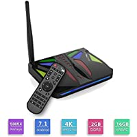 RBSCH New M96X VBOX Android 7.1 4K Smart TV BOX Amlogic S905X Quad Core 64bit 2GB RAM 16GB eMMC Flash Support Wifi Bluetooth LAN HDMI DLNA 1080P with LED Google Smart Media Player