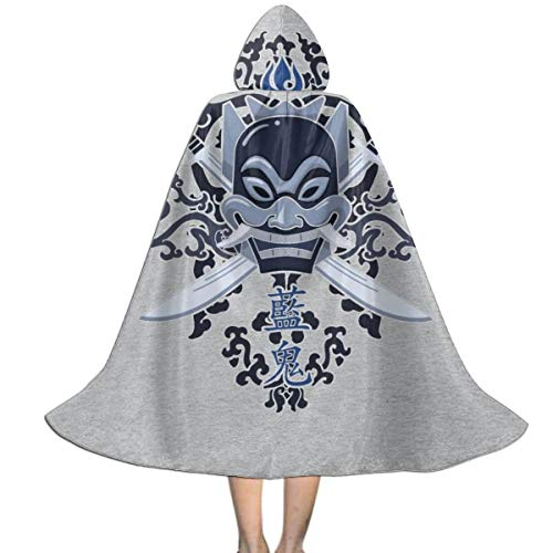 Avatar Last Airbender Blue Spirit Unisex Kids Hooded Cloak Cape Halloween Xmas Party Decoration Role Cosplay Costumes (Avatar The Last Airbender The Blue Spirit)