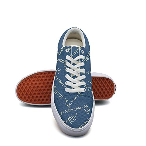 fvnoui Women'sMaths Equation Blue Backdrop Canvas Shoes Low-Cut Straps Leisure Sneakers Suitable for Walking -