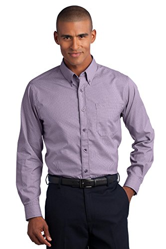 Mini Check Broadcloth Shirt (Red House Mini-Check Non-Iron Button-Down Shirts, Bermuda Purple, 2XL)