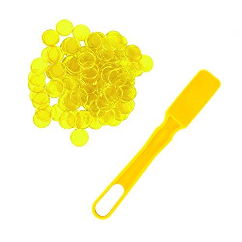 Plastic Magnetic Bingo Chips - Metal Ringed Chips - Yellow - Magnetic Kit - 100pcs - 3/4