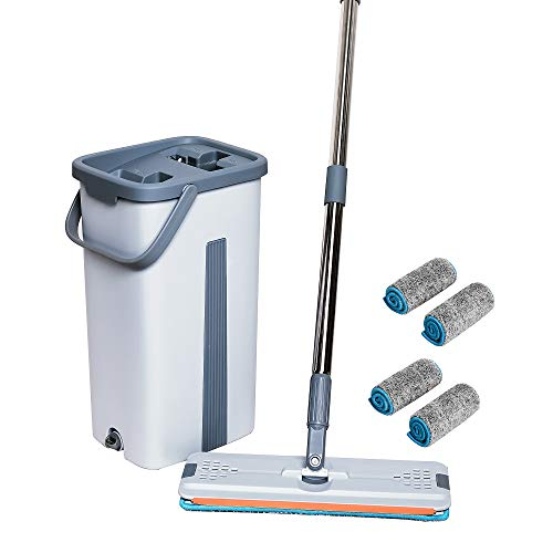 Microfiber Spin Mop& Bucket Floor Cleaning System,Easy to Operate, Grey, Reusable Microfiber Pad 4PCS