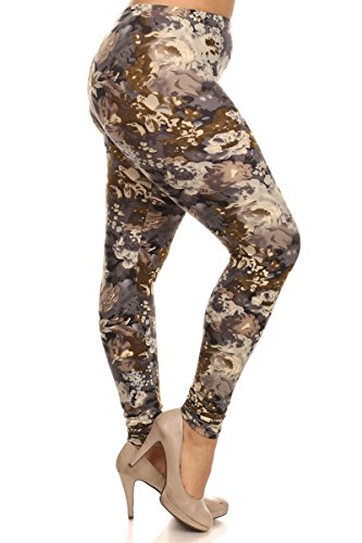 Leggings Depot Women's Popular BEST Printed Plus Size Fashion Leggings Batch3 (Beige Floral)