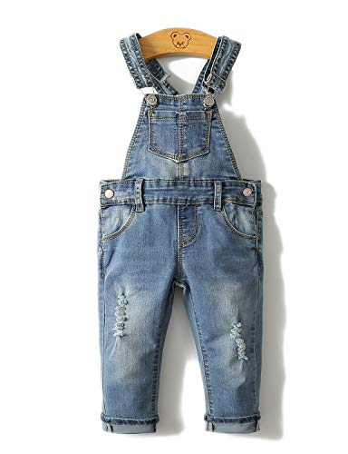 Kidscool Girls Ripped Holes Stone Washed Soft Slim Jeans Overallss,Blue,7