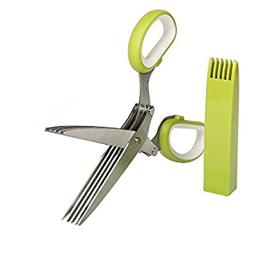 JQWORKLAND Herb Scissors Stainless Steel - Multipurpose Kitchen Shear with 5 Blades and Cover with Cleaning Comb