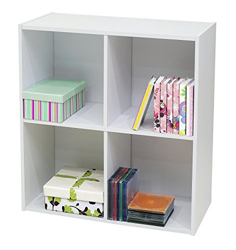 White Wood 4 Cube Organizer Storage Bookcase
