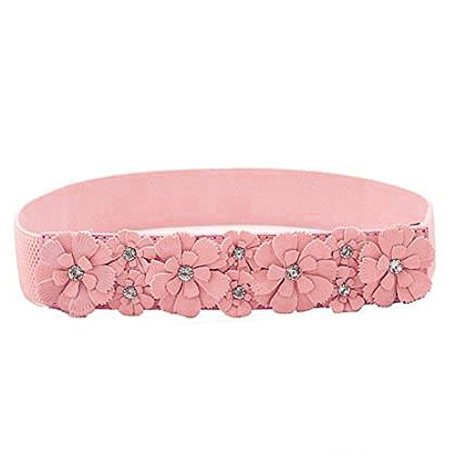 Feamos Rose Flower Synthetic leather Elastic Stretch Dress Wide Waist Belt Band Women Girls Accessories (Pink Lady Accessories)