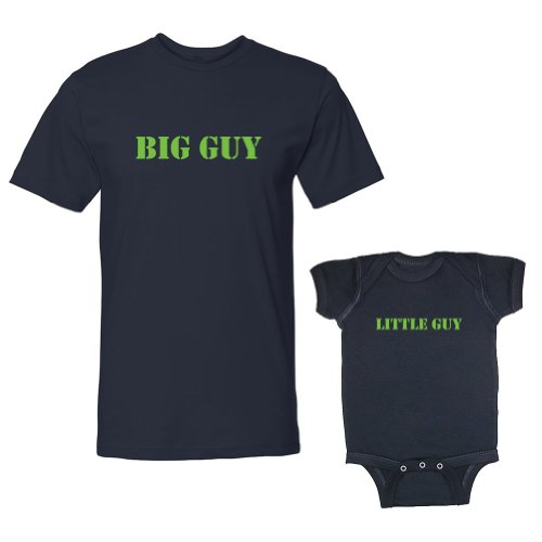 We Match! Big Guy & Little Guy Adult T-Shirt & Baby Bodysuit Set (18 Months Bodysuit, Adult T-Shirt Large, Navy)
