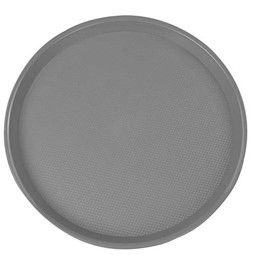 Yubine Plastic Round Serving Trays, Fast Food Tray, Grey, 4 Packs ()