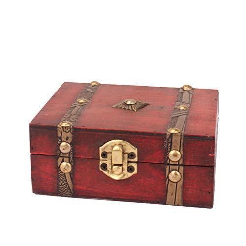 Kiorc Jewelry Box Vintage Wood Handmade Box with Mini Metal Lock for Storing Jewelry Treasure Pearl Brown