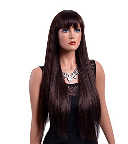 Long Brunette Wig (A.Monamour Women's Dark Brown Brunette Long Straight Layered Layers Full Bangs Synthetic Hair Wig For Daily Wear)