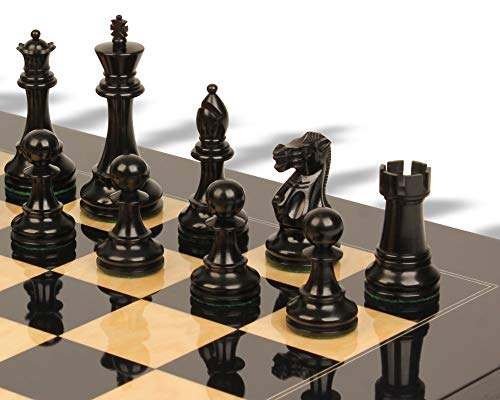 - British Staunton Chess Set Ebonized & Boxwood Pieces with Black & Ash Burl Chess Board - 4