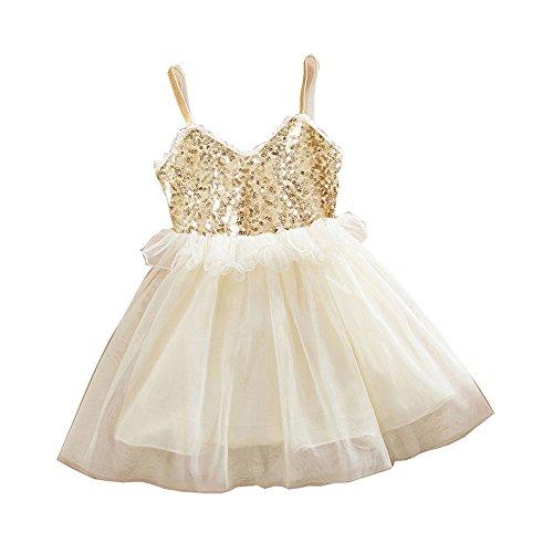 (Kehen Kid Toddler Girl Sequins Tulle Slip Dress Princess Lace Tutu Dress Skirt Wedding Flower Girl Beige)