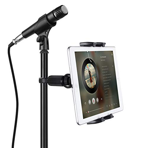 "JUBOR Tablet Mounts for Microphone Stands, Microphone Tablet Holder, Mic Music Stand for iPad, iPad Pro, iPad Mini, 2, 3, iPad Air, iPhone Smartphone 4.7-12.9"" Tablets"