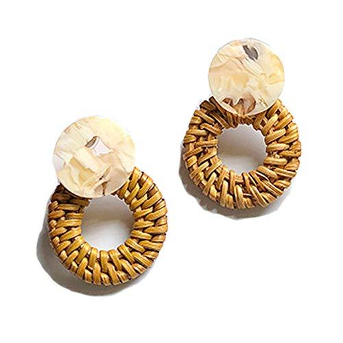 Rattan Statement Earrings Handmade Straw Wicker Braid Drop Dangle Earrings Lightweight Geometric Earrings for Women Girls (8)