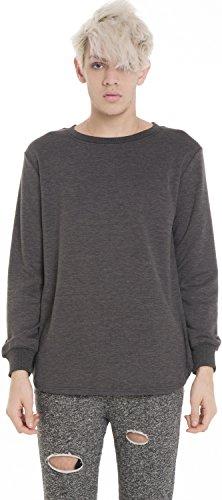 Pizoff Unisex Hip Hop basic Langärmliges Langes T Shirt mit abgerundetem Saum Y1195-gray-S