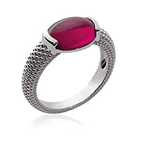Stunning Red Crystal Stone Solid Silver 925/1000 Ring