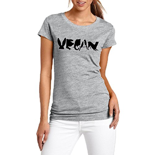 Yyicool Vegan Spelled With Animals Print Women Tshirt Cotton Casual Funny T Shirt For Lady Girl Tops (Grey, L)