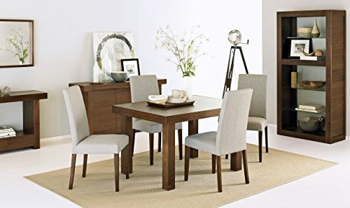 Coastlink Kita Walnut Extension Dining Table Set for 4 - Taper Back Chairs