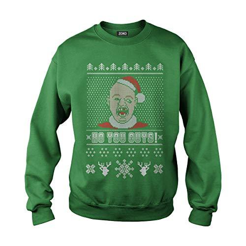 Zoko Apparel Unisex Ho You Guys Christmas Adult Crewneck Sweatshirt (L, Green) -