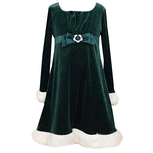 Girls Green Sparkling Velour Christmas Dress Flower Buckle (14)