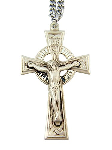 Sterling Silver Irish Catholic Celtic Cross Crucifix Pendant, 1 3/4 (Sterling Silver Celtic Crucifix)