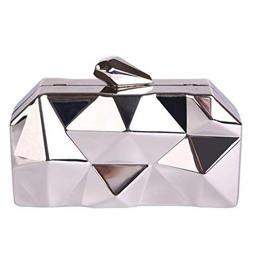 3D Metallic Evening Clutch For Party (silver)