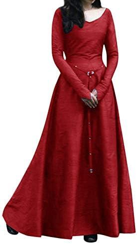Jopinia_Women Dress 女性 中世 ルネッサンス 無地 ロングセクション 冬 スカート レトロ 包帯 ラウンドネック長袖 パーティー ドレス コスプレ 大きなサイズ 無地 宮殿の風 エレガント