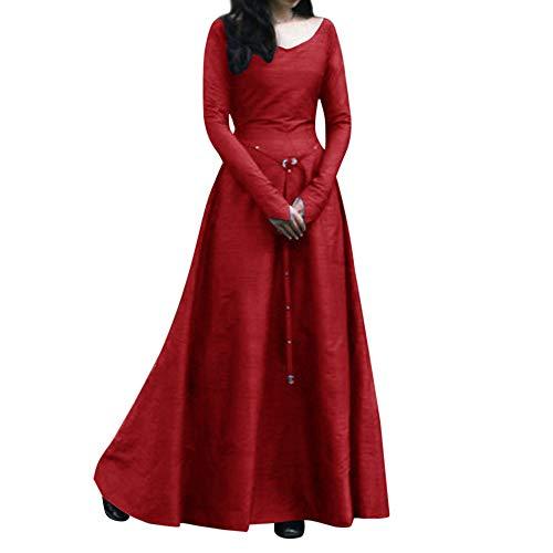 - Toimothcn Women Plus Size Solid Vintage Renaissance Long Sleeve Bandage Long Party Dress(Red,L)