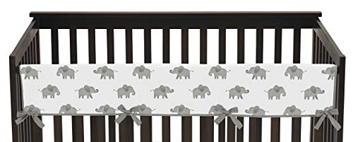 Sweet Jojo Designs Grey and White Long Front Crib Rail Guard Baby Teething Cover Protector Wrap for Watercolor Elephant Safari Collection