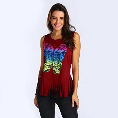 Gilet Pas Shirt cher Dbardeur Et Gland Col Femmes Rond Manche Sexyville Rouge Impression Casual Sans Chemises Papillon T Tops HxAqRggW7w